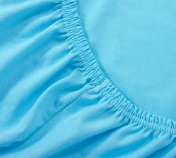 Купить голубую трикотажную простынь